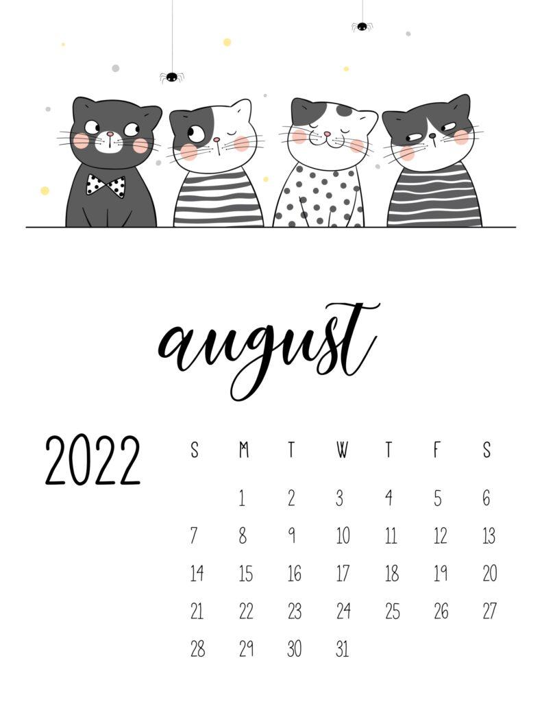 funny cat calendar 2022 - august