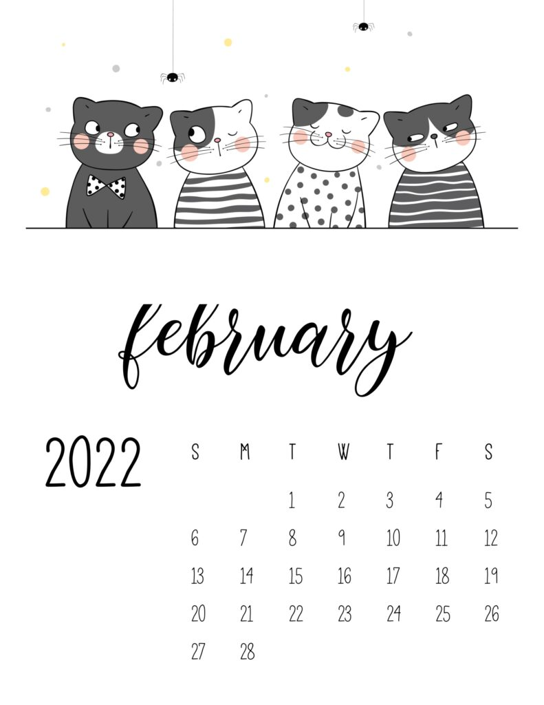 funny cat calendar 2022 - february