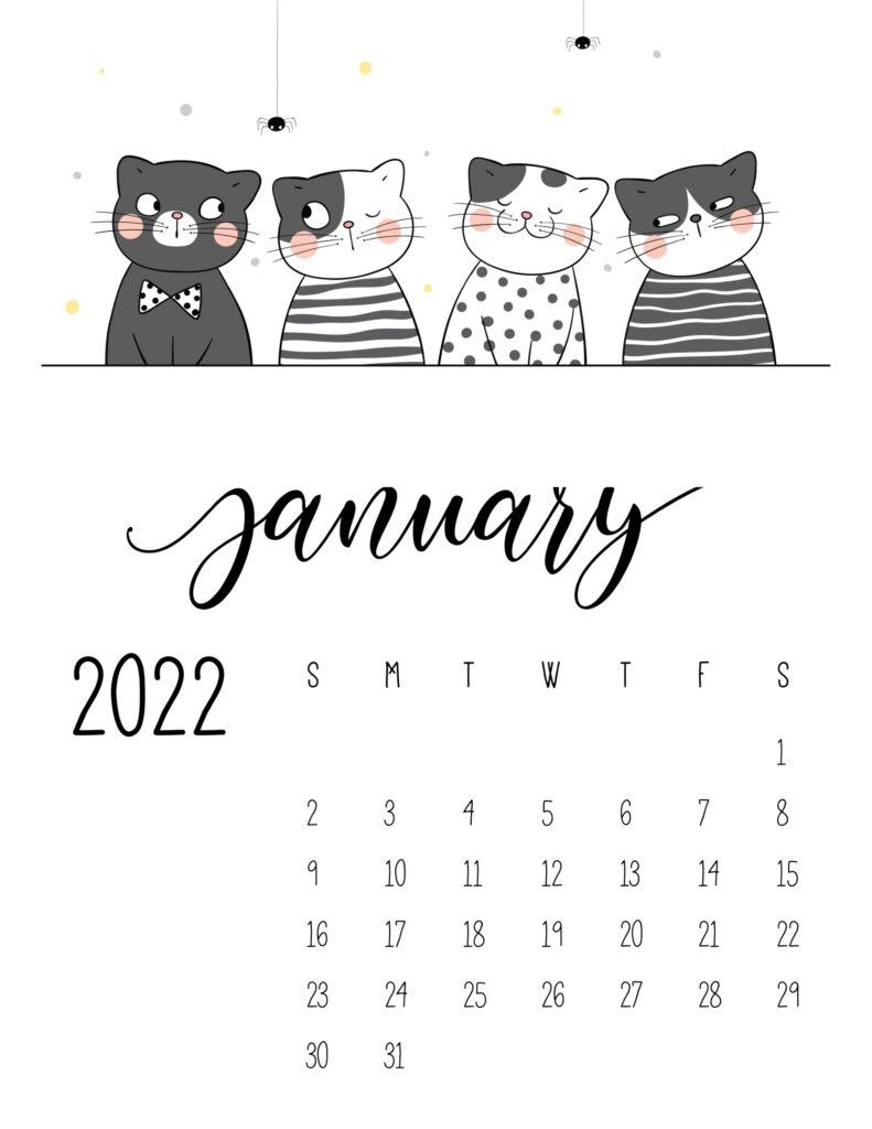 funny cat calendar 2022 - january