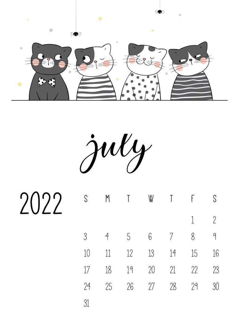 funny cat calendar 2022 - july