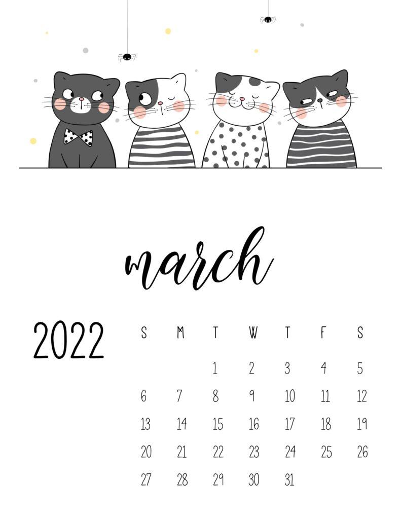 funny cat calendar 2022 - march