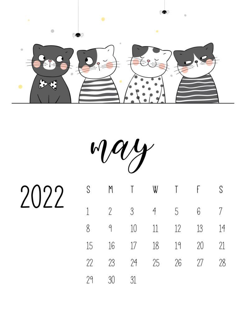 funny cat calendar 2022 - may