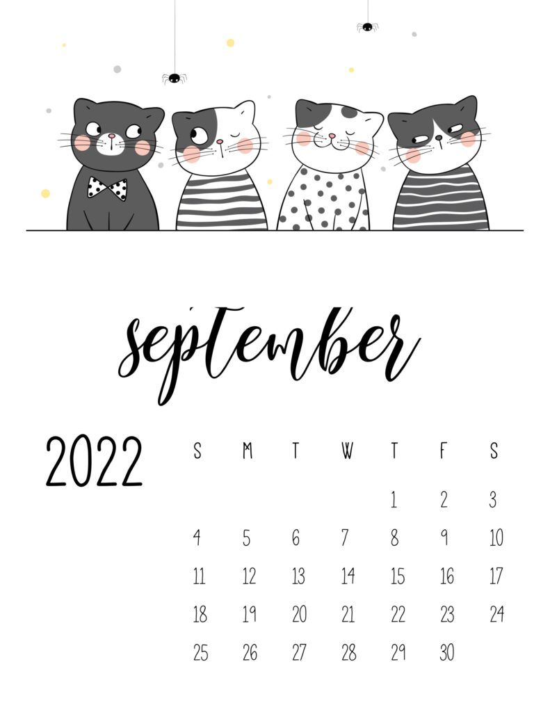 funny cat calendar 2022 - september