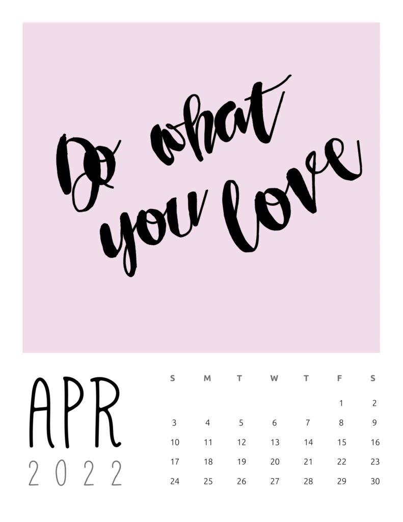inspirational quotes calendar April 2022
