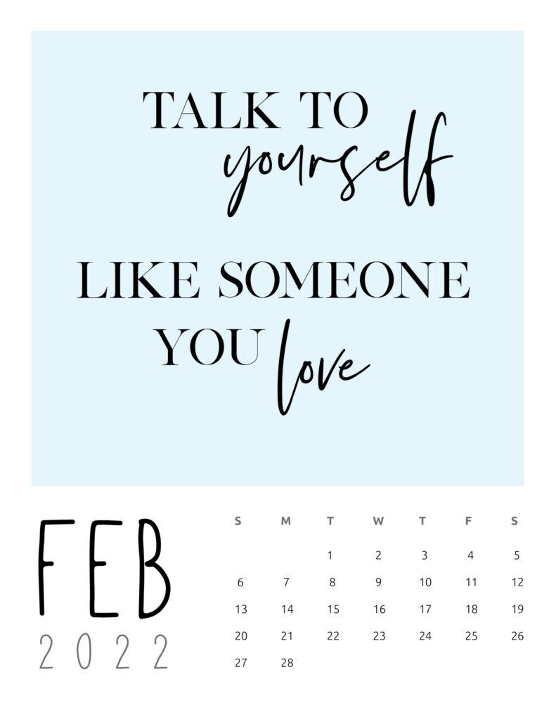 inspirational quotes calendar 2022 - february