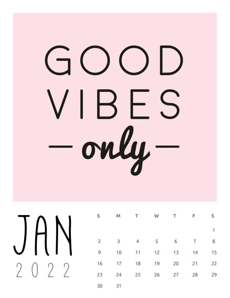 inspirational quotes calendar January 2022
