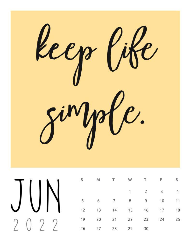 inspirational quotes calendar June 2022