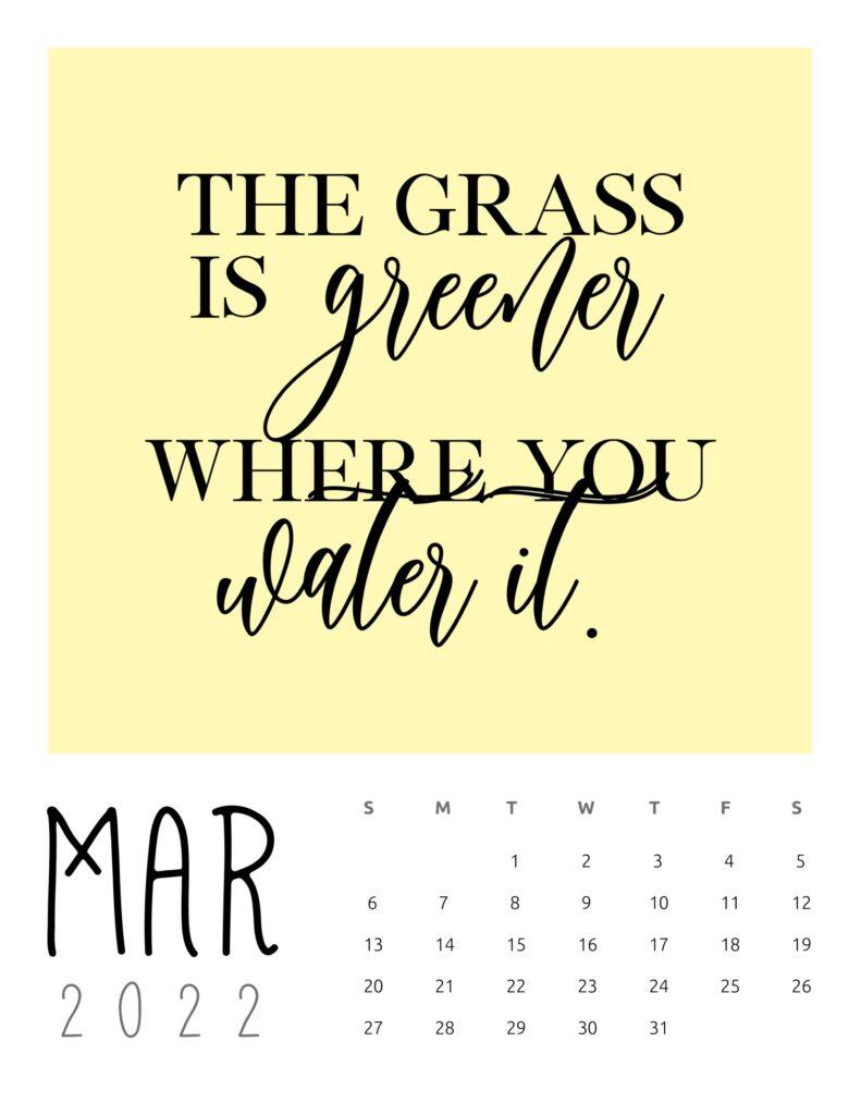 inspirational quotes calendar 2022 - march
