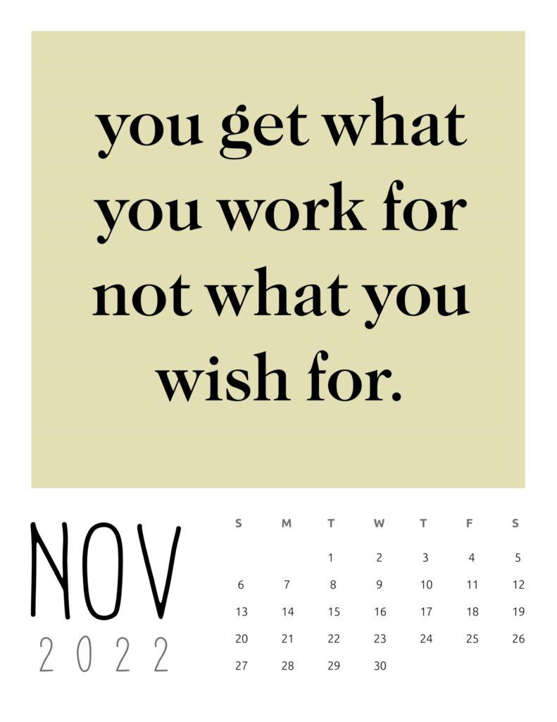 inspirational quotes calendar November 2022