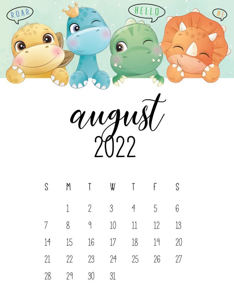 kids calendar 2022 - august