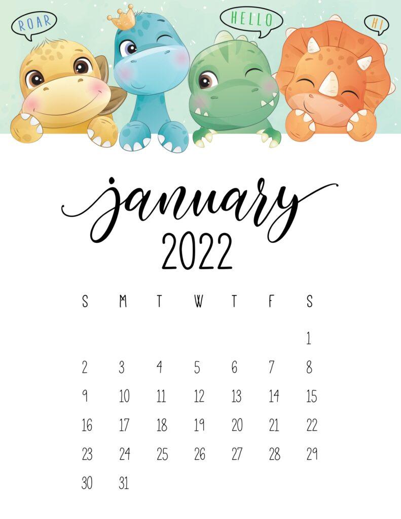 kids calendar 2022 - january
