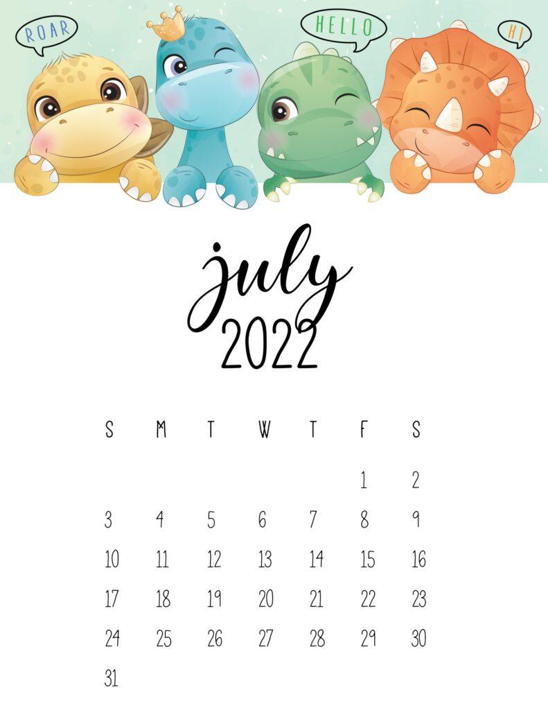 kids calendar 2022 - july