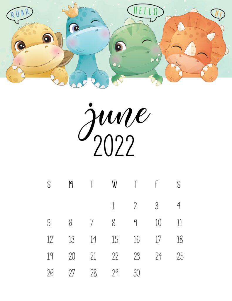 kids calendar 2022 - june