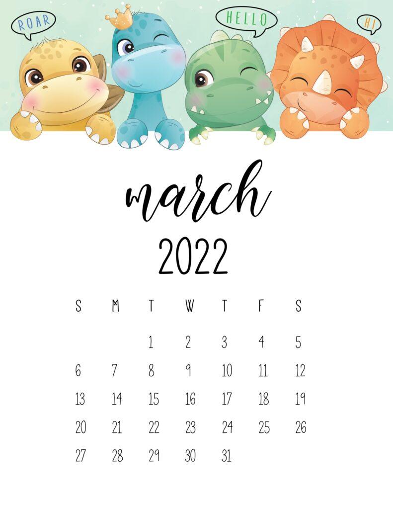 kids calendar 2022 - march