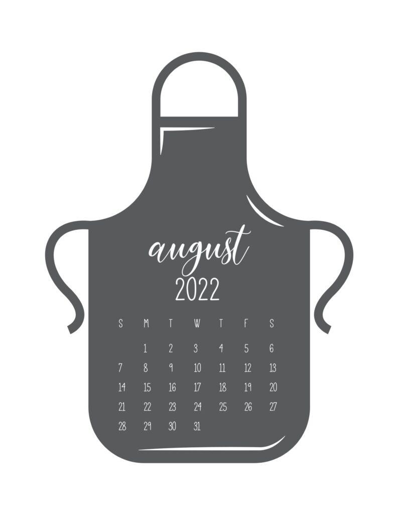 kitchen calendar 2022 - august