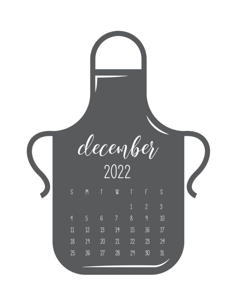 kitchen calendar 2022 - december
