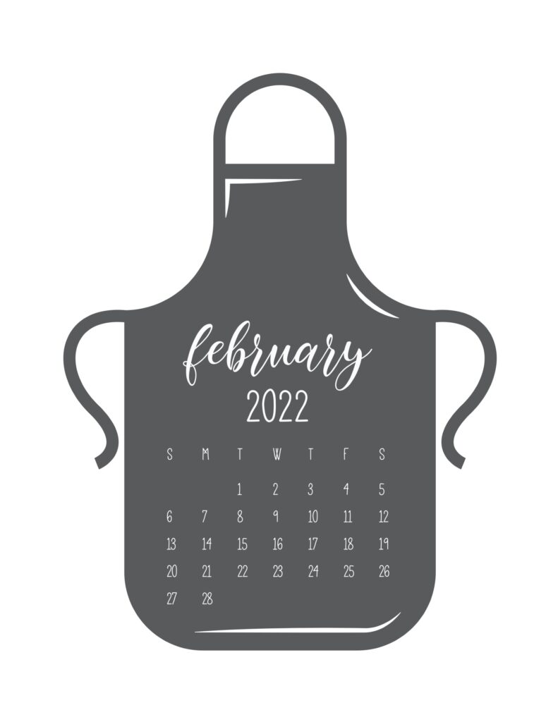 kitchen calendar 2022 - february