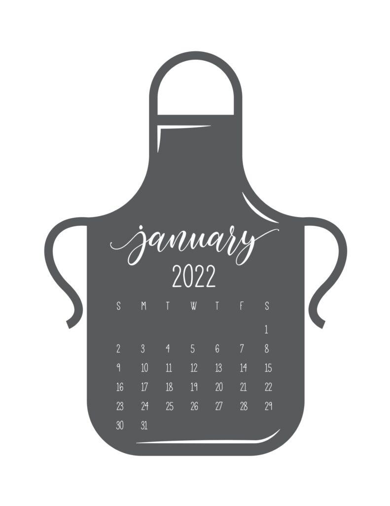 kitchen calendar 2022 - january