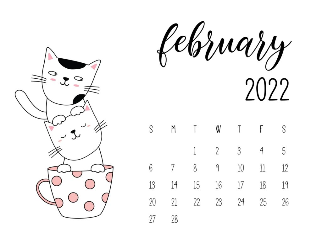 kitten calendar 2022 - february