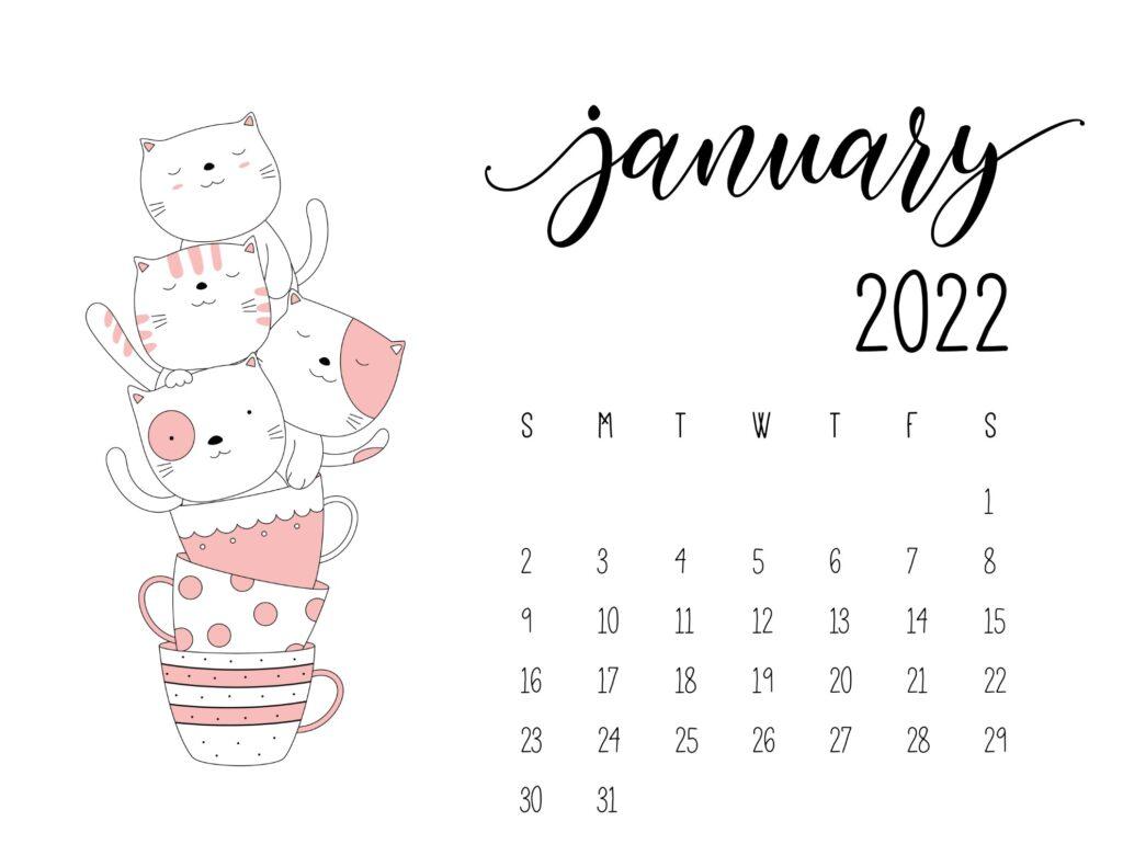 kitten calendar 2022 - january
