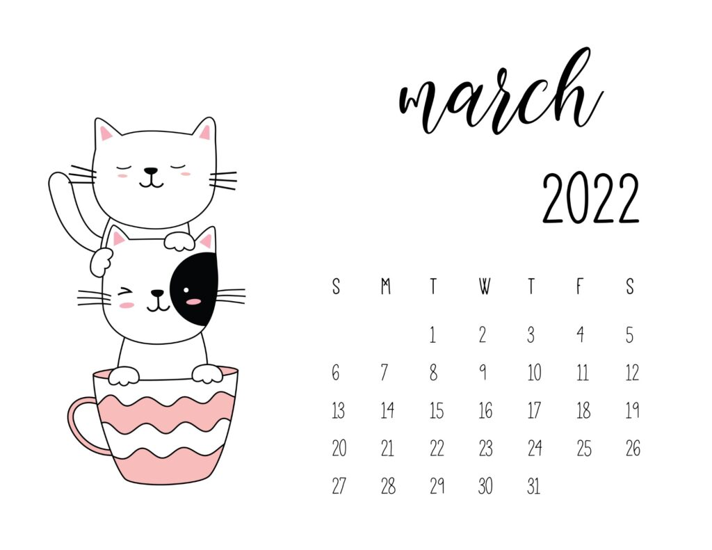 kitten calendar 2022 - march