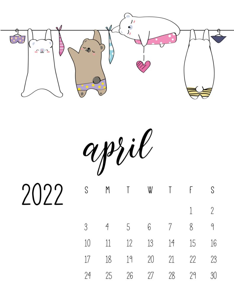 laundry room wall art calendar - april