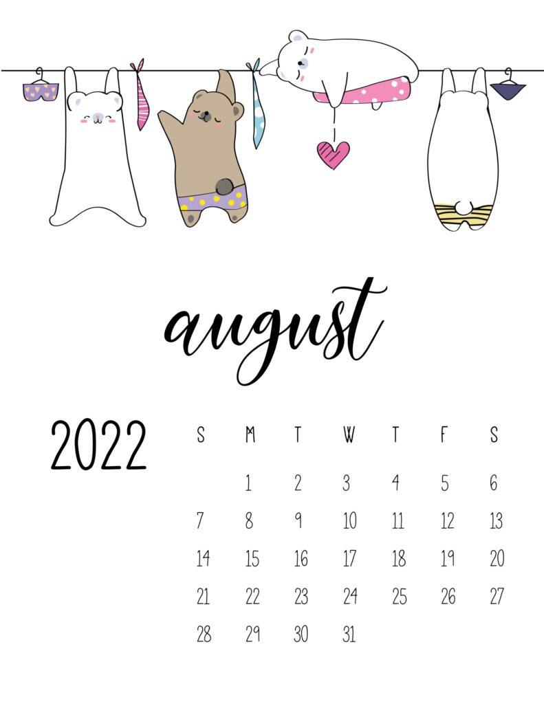 laundry room wall art calendar - august
