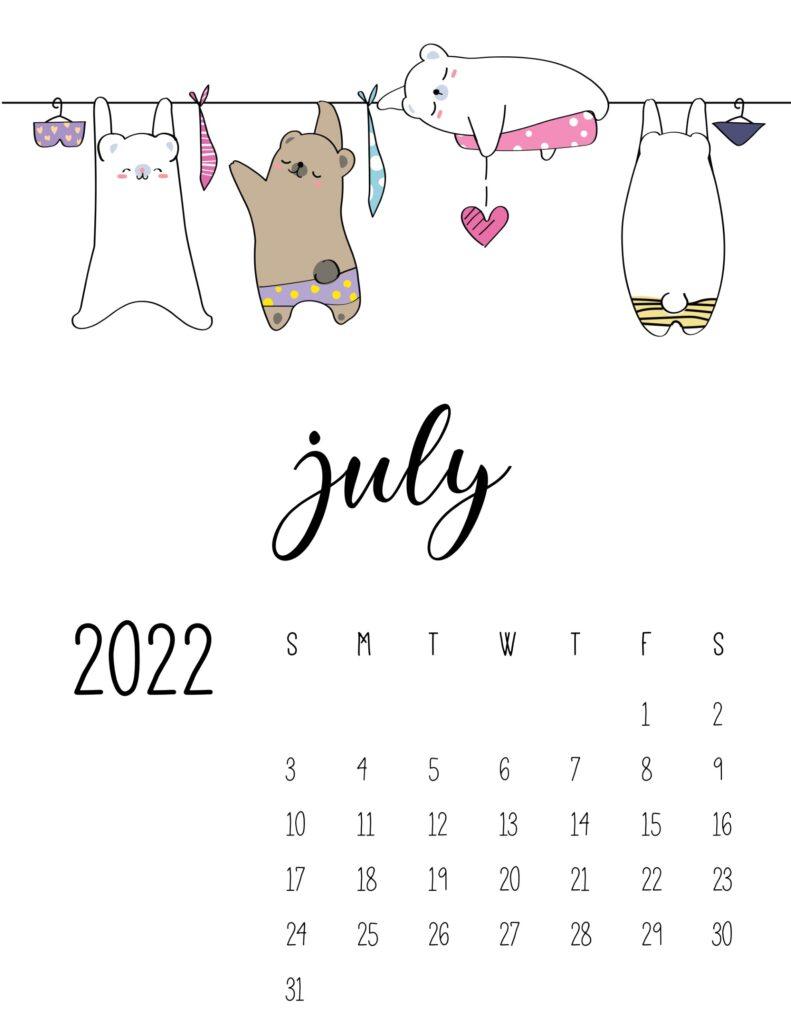 laundry room wall art calendar - july