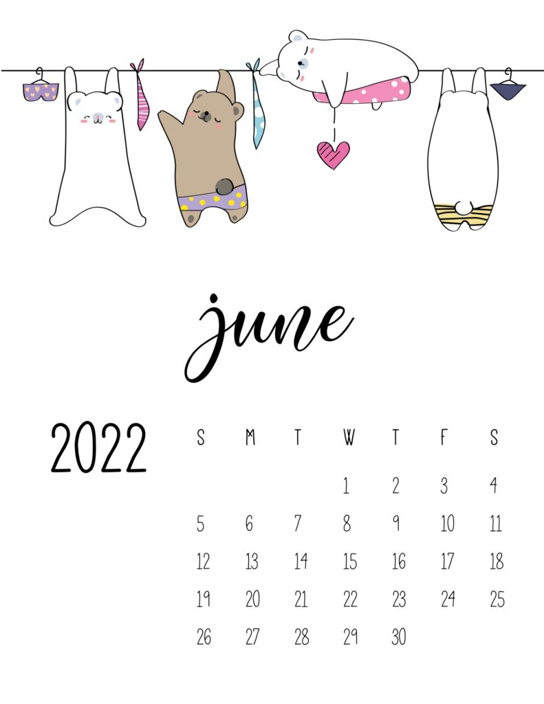 laundry room wall art calendar - june