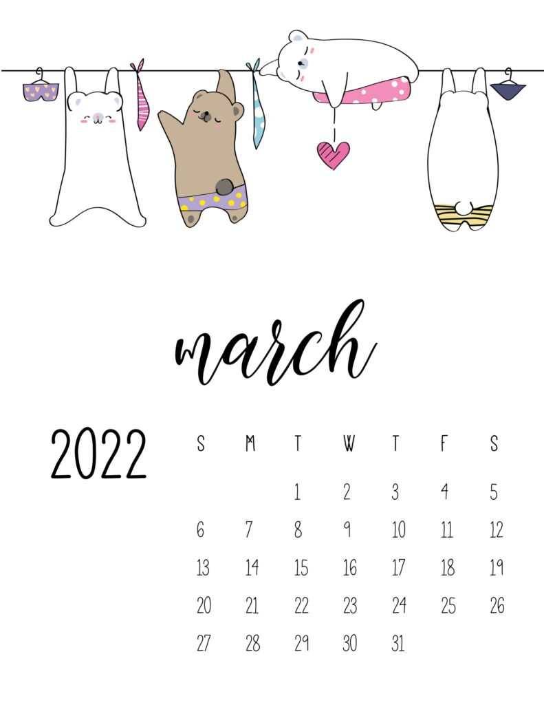laundry room wall art calendar - march