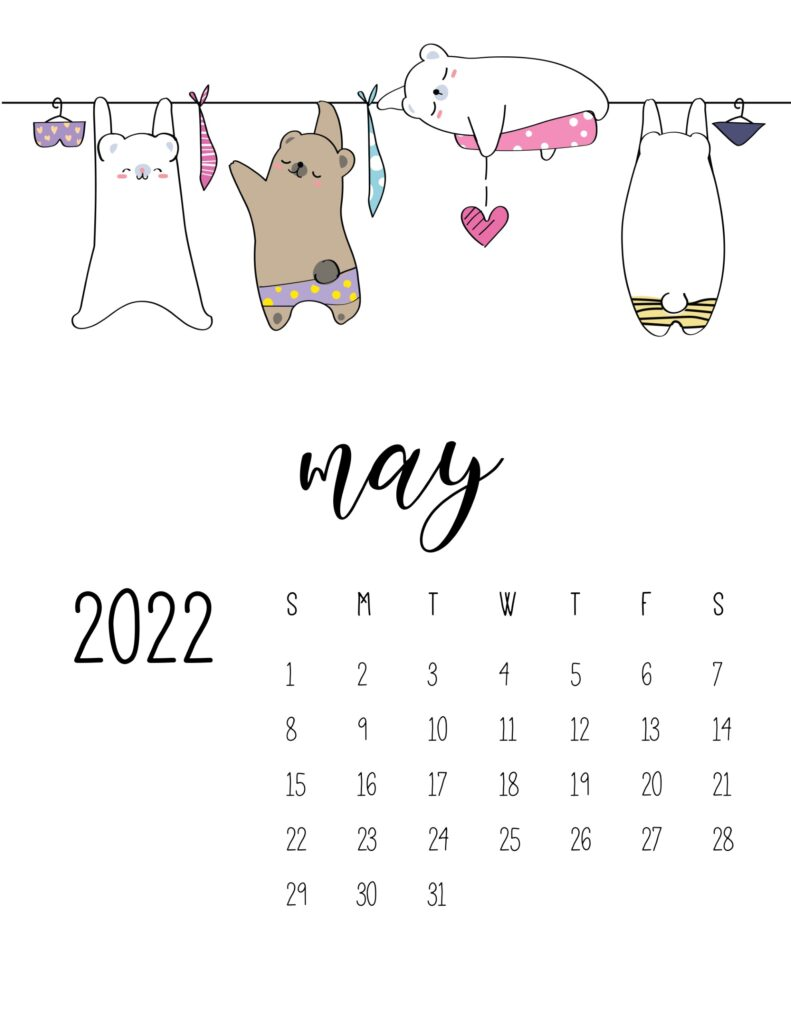 laundry room wall art calendar - may