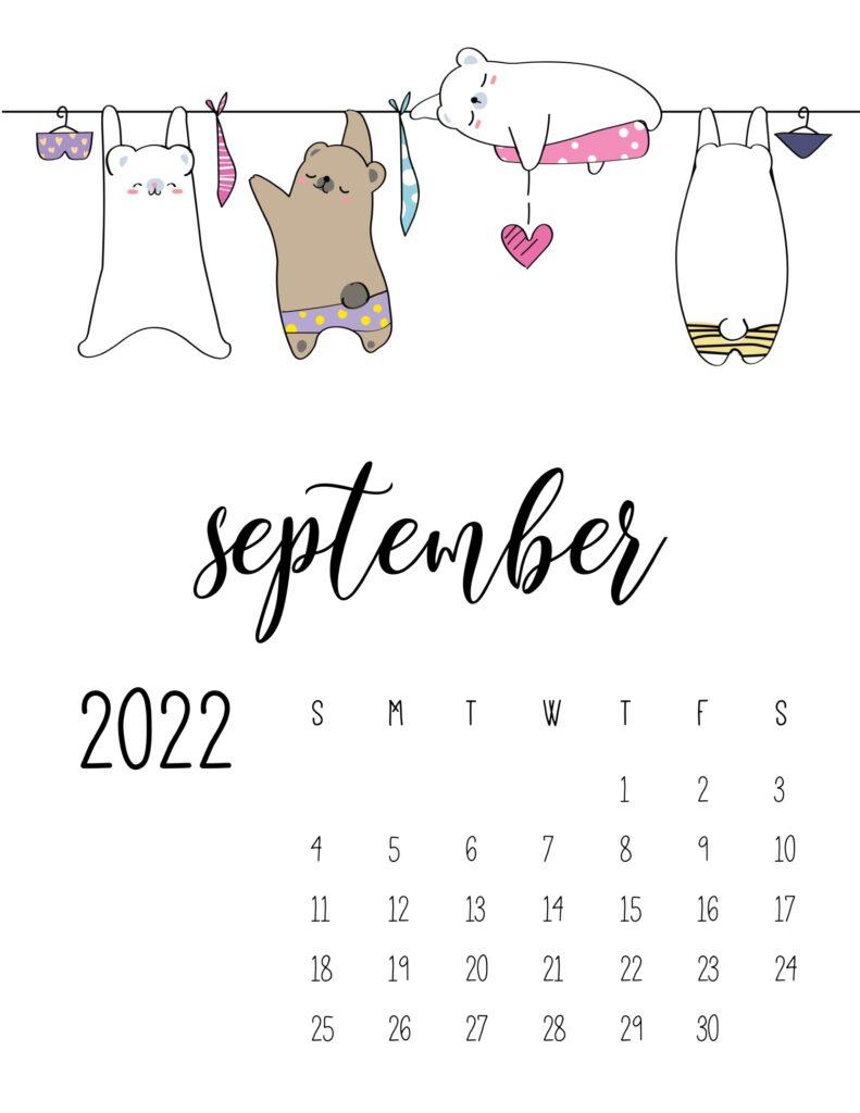 laundry room wall art calendar - september