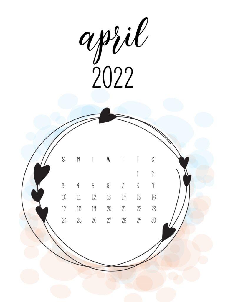 love calendar 2022 - april