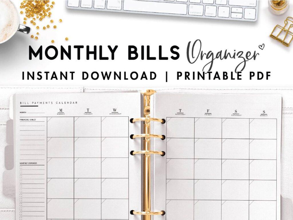 monthly bills organizer