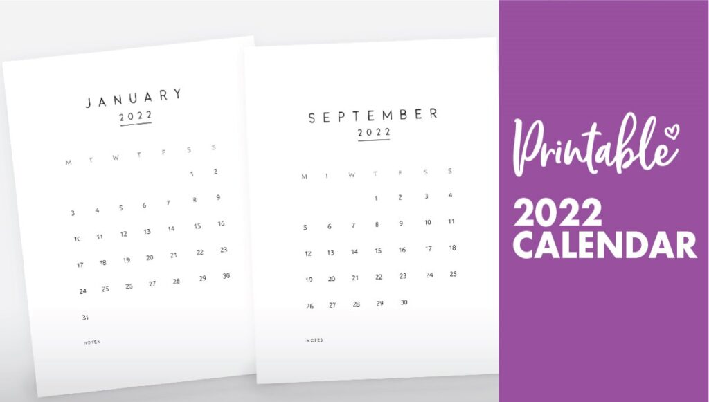 monthly calendar 2022