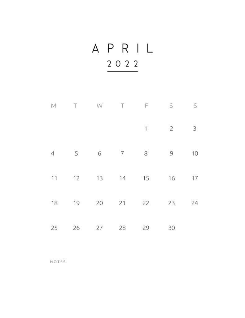 monthly calendar 2022 - april