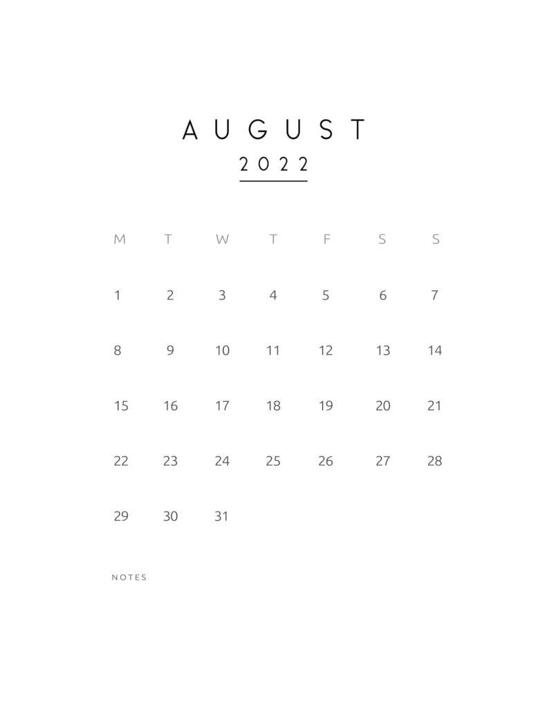 monthly calendar 2022 - august