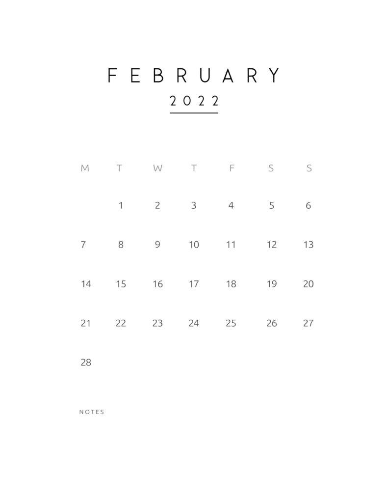 monthly calendar 2022 - february