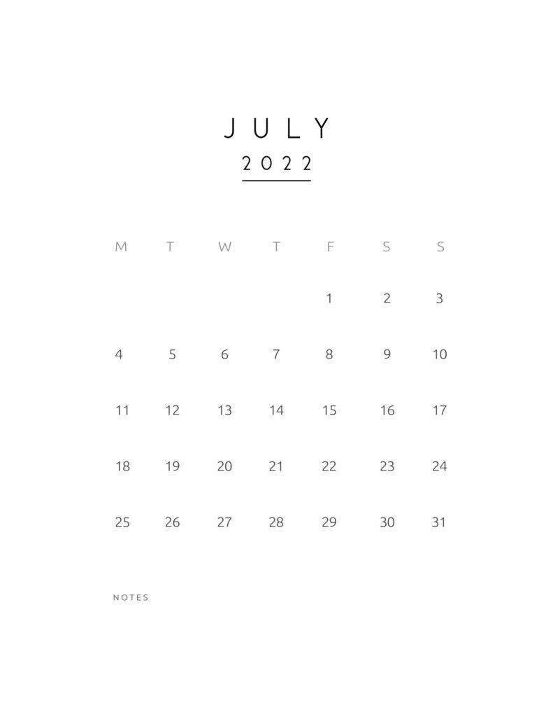 monthly calendar 2022 - july
