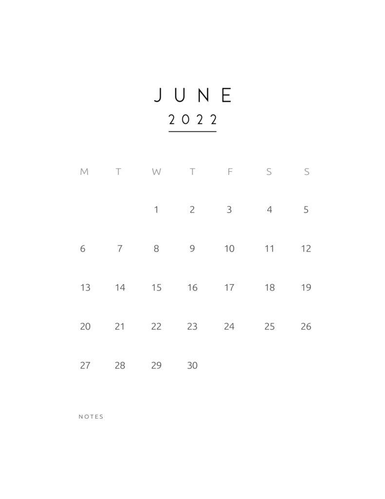 monthly calendar 2022 - june