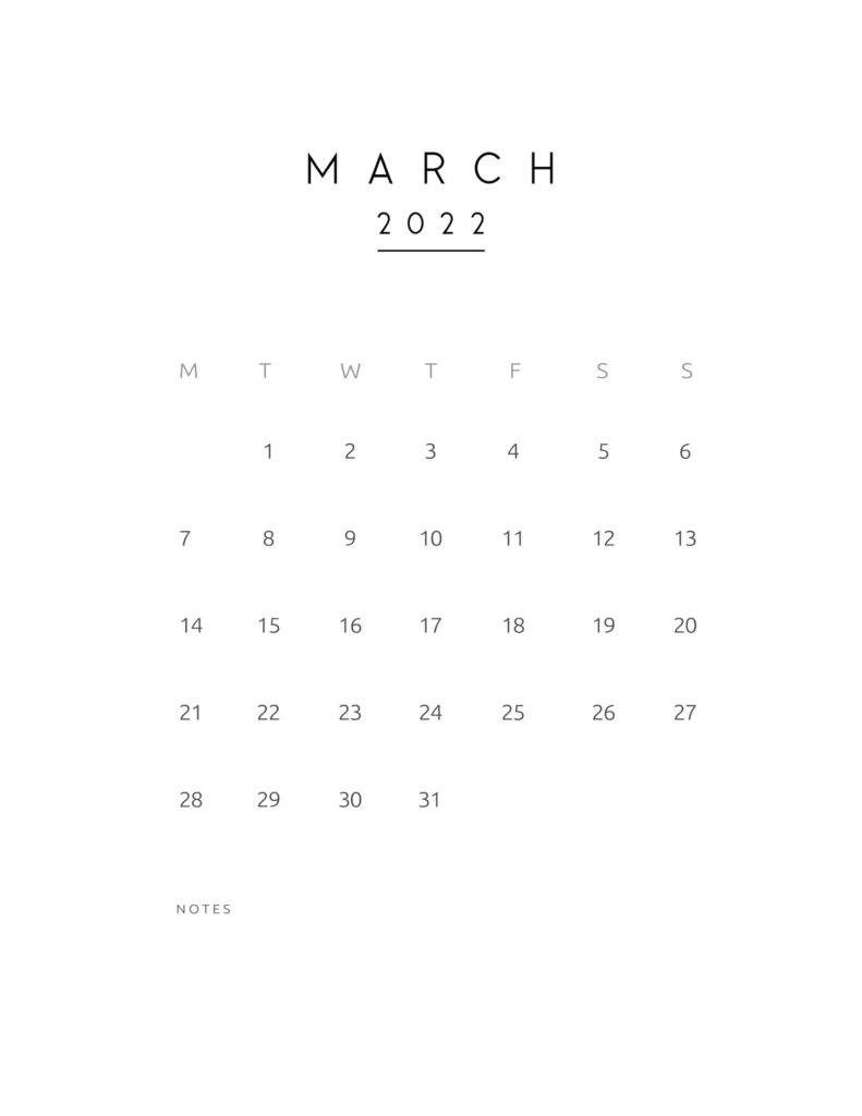monthly calendar 2022 - march