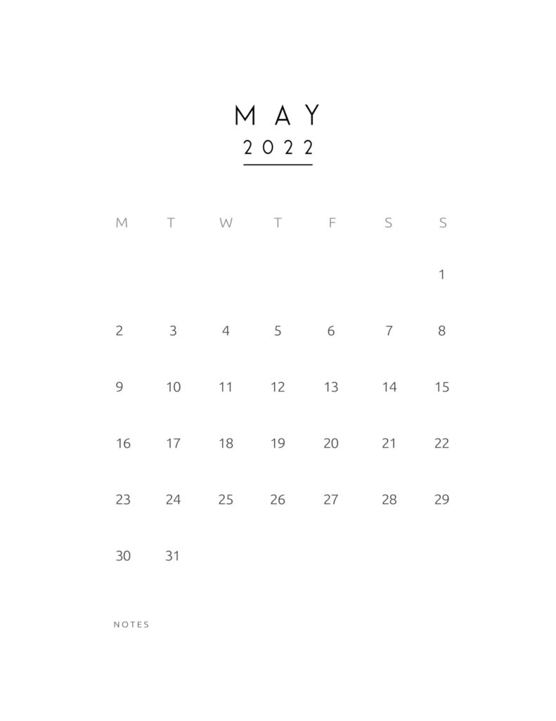 monthly calendar 2022 - may