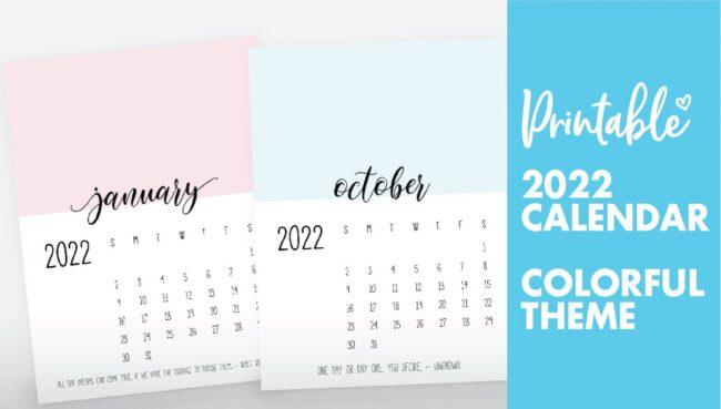 monthly calendar 2022 printable