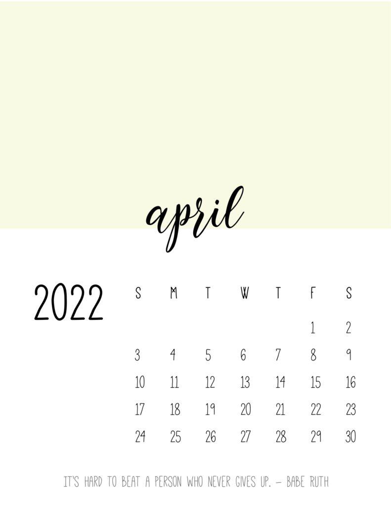 monthly calendar 2022 printable - april