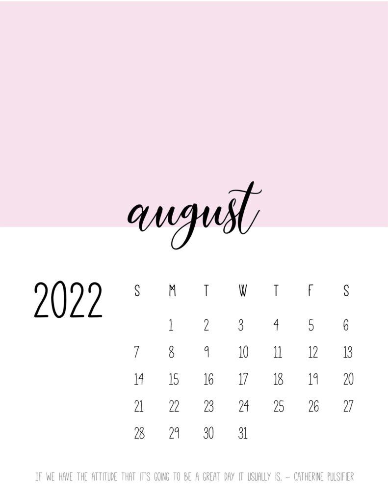 monthly calendar 2022 printable - august