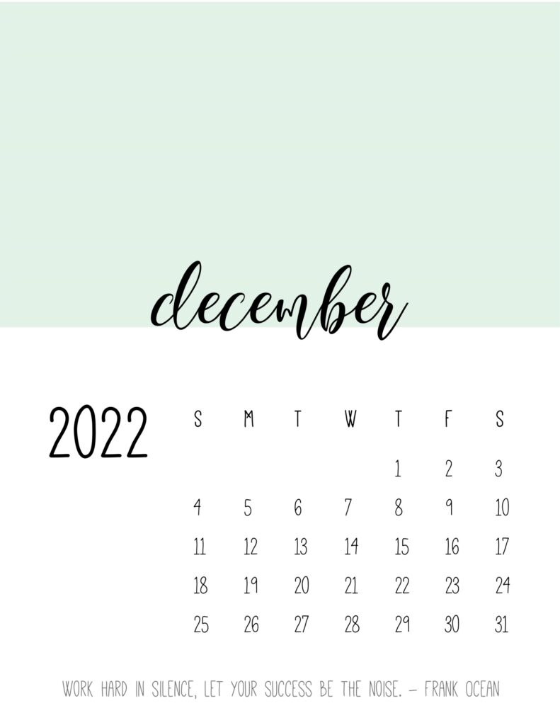 monthly calendar 2022 printable - december