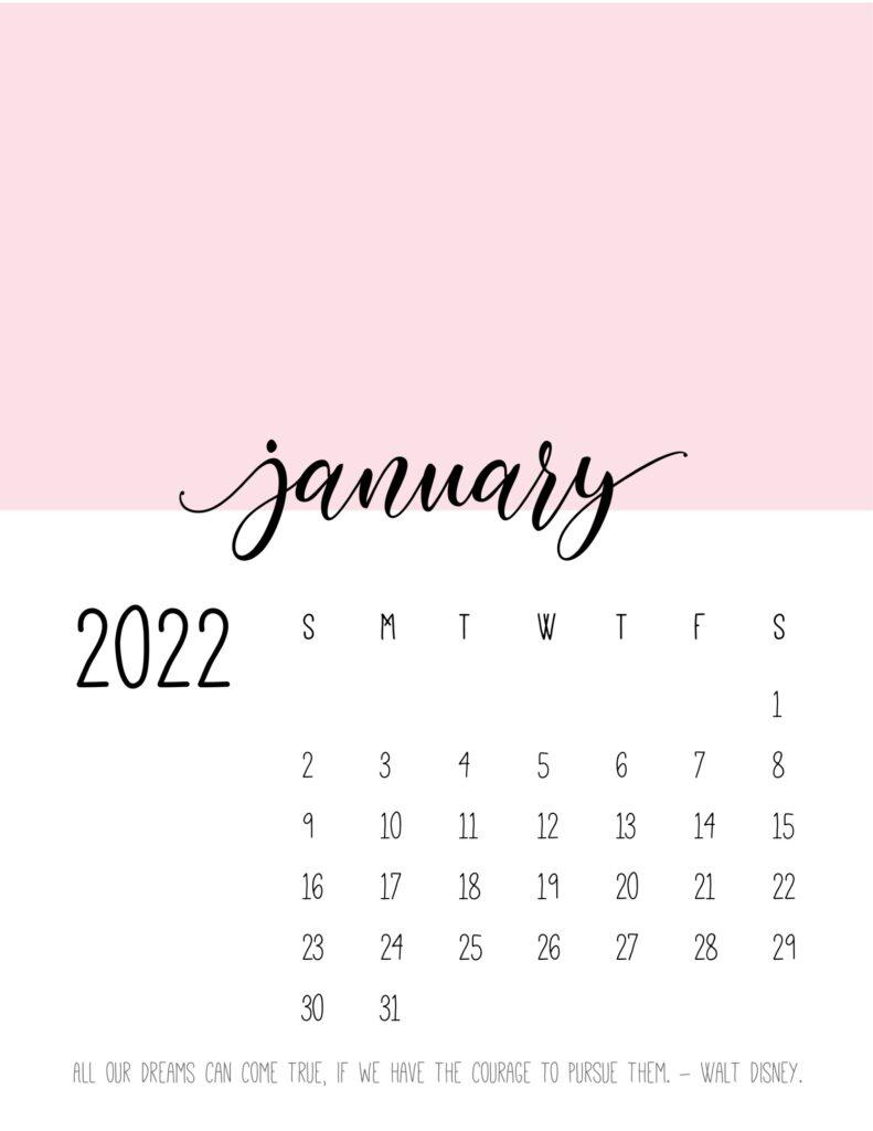 monthly calendar 2022 printable - january