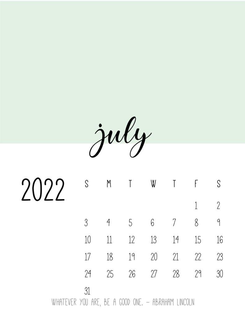 monthly calendar 2022 printable - july