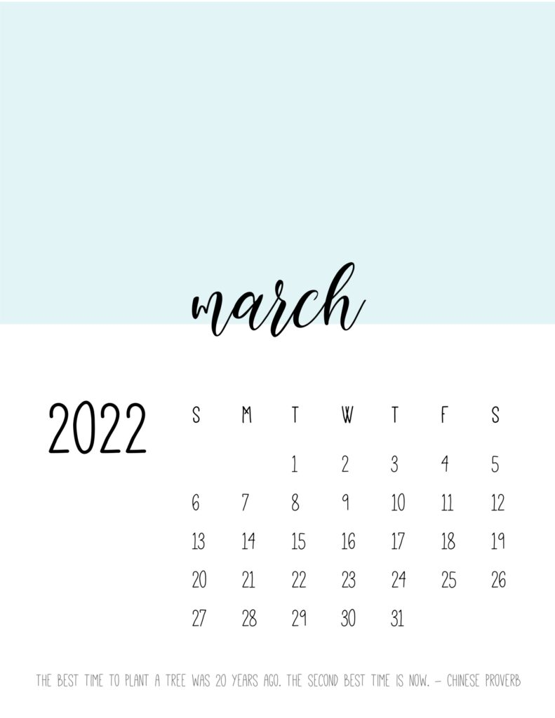 monthly calendar 2022 printable - march