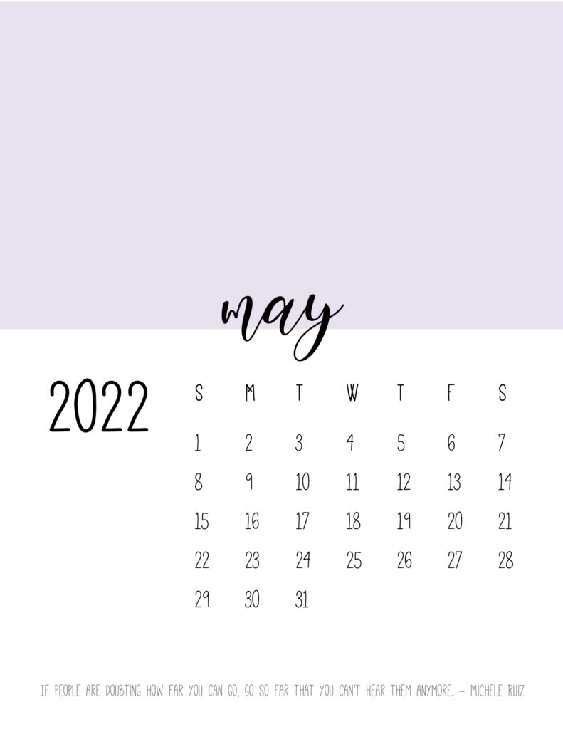 monthly calendar 2022 printable - may